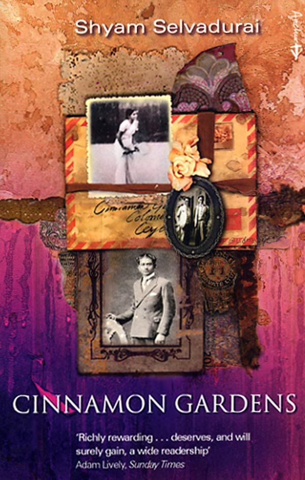 Book cover for Shyam Selvadurai's Cinnamon Gardens featuring a collage of old photos in frames and an envelope.