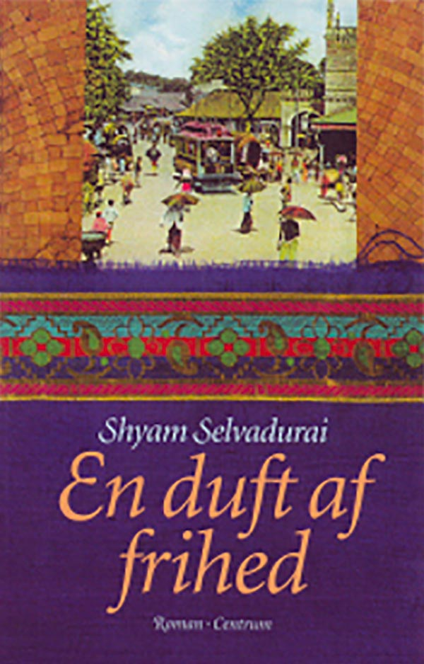 Book cover for Shyam Selvadurai's Cinnamon Gardens featuring an image of a busy market with brightly dressed figures carrying umbrellas.