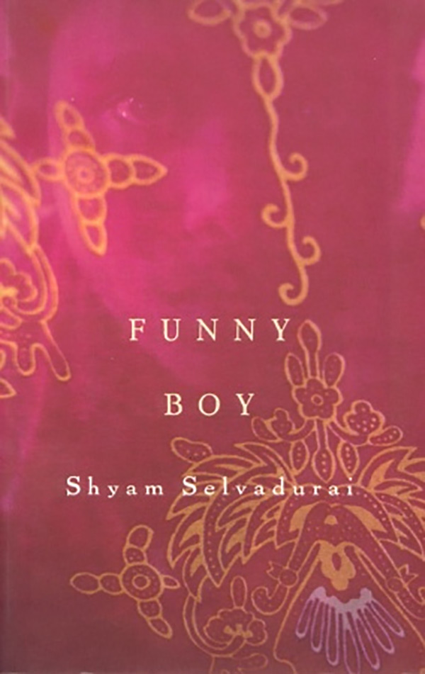 Book cover for Shyam Selvadurai's Funny Boy featuring a background image of ornately patterned cloth.