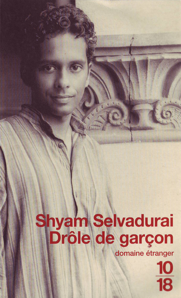 Book cover for Shyam Selvadurai's Funny Boy showing a sepia toned image of a young man with curly hair smiling beside an ornate architectural detail in stone.