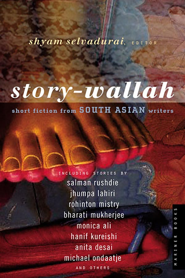 Book cover for Shyam Selvadurai's Story-Wallah showing an image of the feet of a statue.