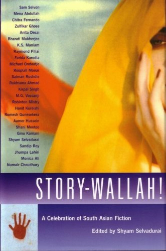 Book cover for Shyam Selvadurai's Story Wallah showing an image of a person in a head covering with a head to their face