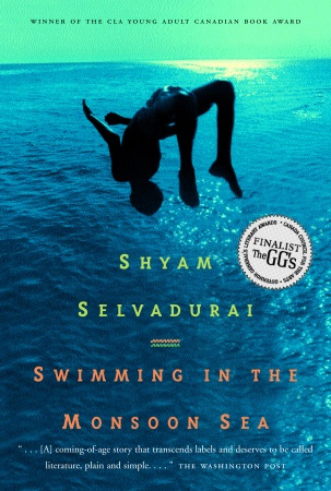 Book cover for Shyam Selvadurai's Swimming in the Monsoon Sea showing a figure in silhouette doing a back flip above a body of water