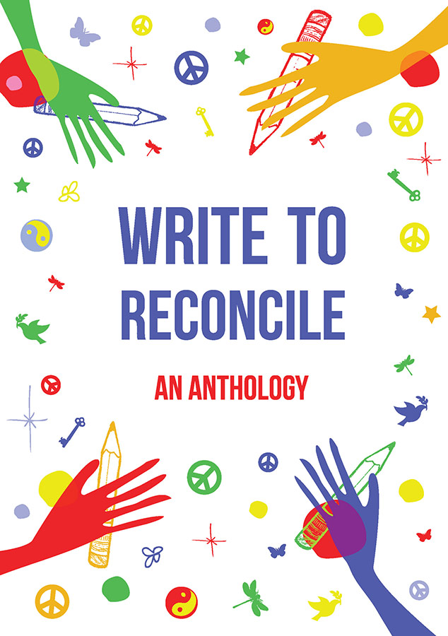 "An illustration of hands and pencils surrounds the text ""Write to Reconcile—an anthology"""