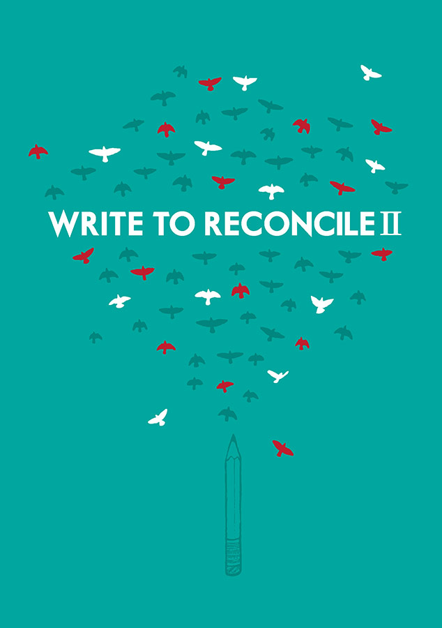 "An illustration of birds taking flight from the tip of a pencil is the background to the title ""Write to Reconcile II"""