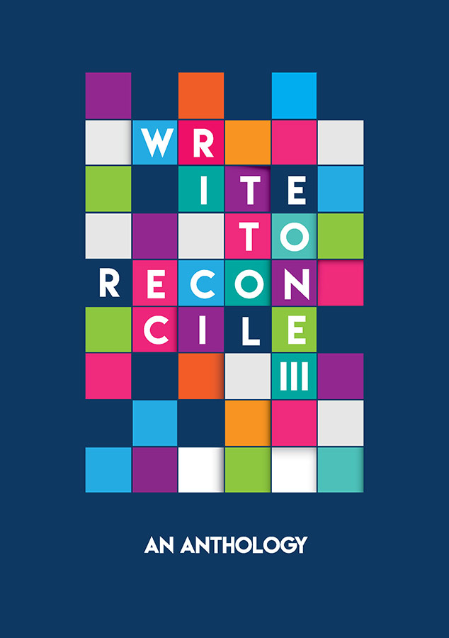 "A colourful checkerboard design is background to the title ""Write to Reconcile III: An Anthology"""