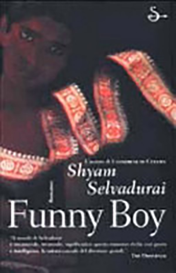 Book cover for Shyam Selvadurai's Funny Boy featuring an illustration of a youth and a brightly patterned and unravelling ribbon.