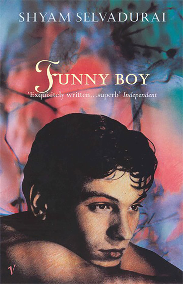 Book cover for Shyam Selvadurai's Funny Boy featuring the head of a youth against an impressionistic background of branches, leaves, and a fiery glow.