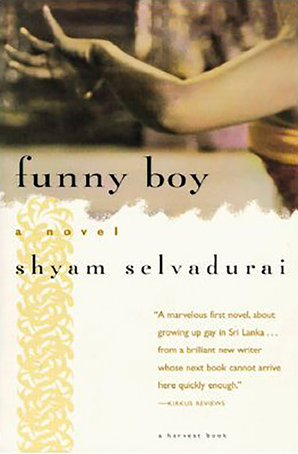 Book cover for Shyam Selvadurai's Funny Boy featuring an image of an arm making a dancerly gesture.